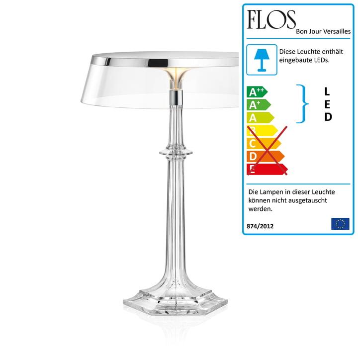 Flos Bon Jour Versailles LED Tischleuchte small, H 27,2 cm, chrom Krone transparent