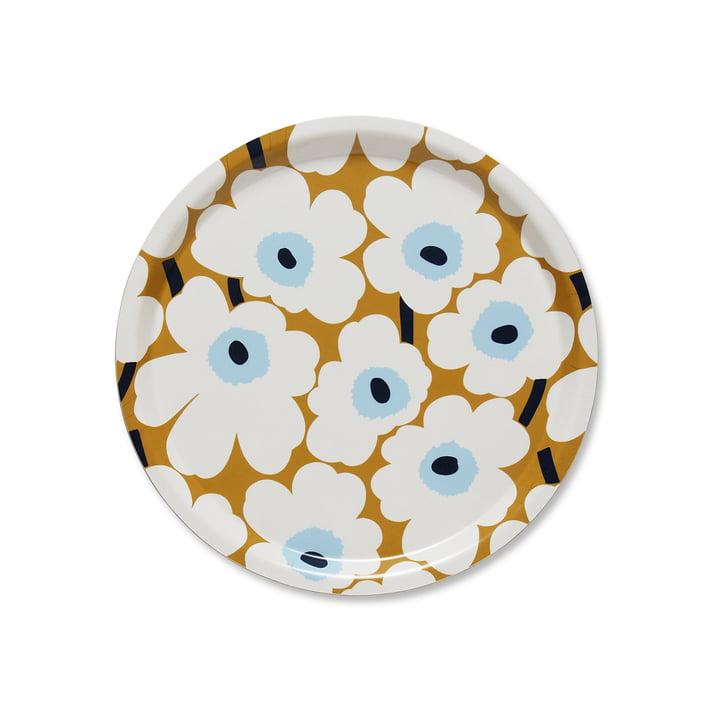Das Marimekko - Mini Unikko Tablett rund Ø 31 cm in weiß / beige / blau