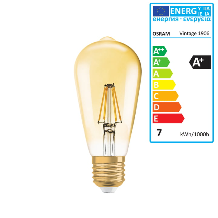 Vintage 1906 Classic Edison LED Leuchtmittel, 6,5W / E27, Warmweiß 2400K, dimmbar von Osram