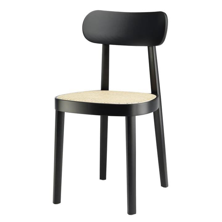 118 Stuhl mit Rohrgeflecht mit Kunststoffstützgewebe aus Buche schwarz gebeizt (TP 29) von Thonet