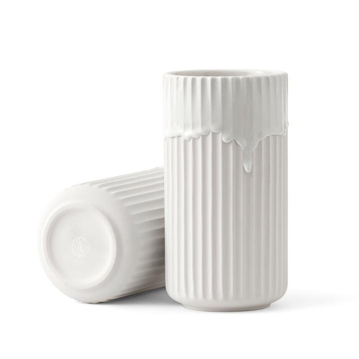 Lyngbyvase mit Laufglasur H 20 cm von Lyngby Porcelæn in Weiß