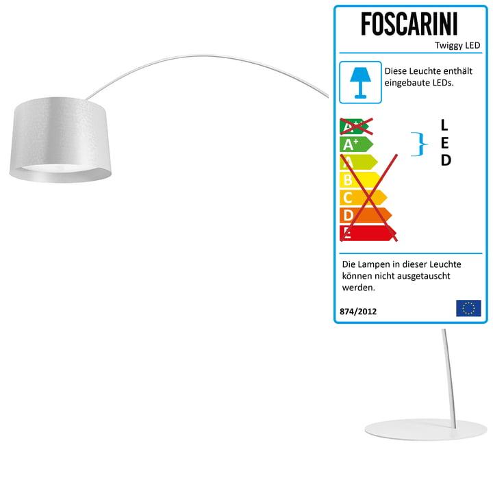 Die Foscarini - Twice as Twiggy LED Bogenleuchte, dimmbar, weiß