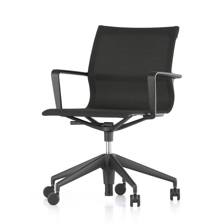 Der Vitra - Physix Studio Bürodrehstuhl, Bezug FleeceNet schwarz, Rahmenfarbe tiefschwarz, weiche Rollen für harte Böden
