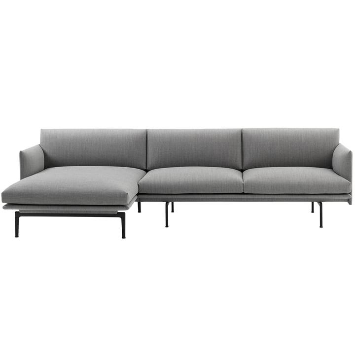 Muuto - Outline Sofa 3-Sitzer mit Chaise Longue links, Fiord 151 / verkehrsschwarz (RAL 9017) (EU)