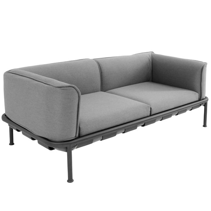 Emu - DockSofa 2-Sitzer, schwarz (24) mit Kissen hellgrau (900/64)
