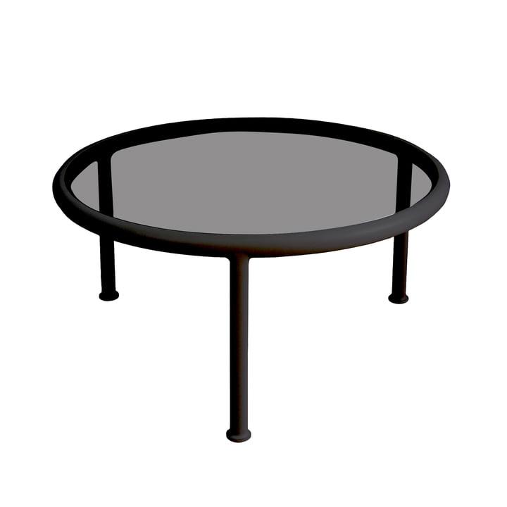 Dock Tisch rund H 40 Ø 80 cm von Emu in schwarz / Glas rauchgrau
