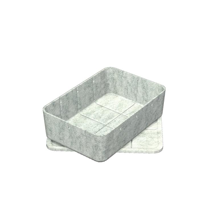 Inos Box mit Tablett, 22,3 x 32,2 cm, H 9,5 cm von USM Haller in Hellgrau