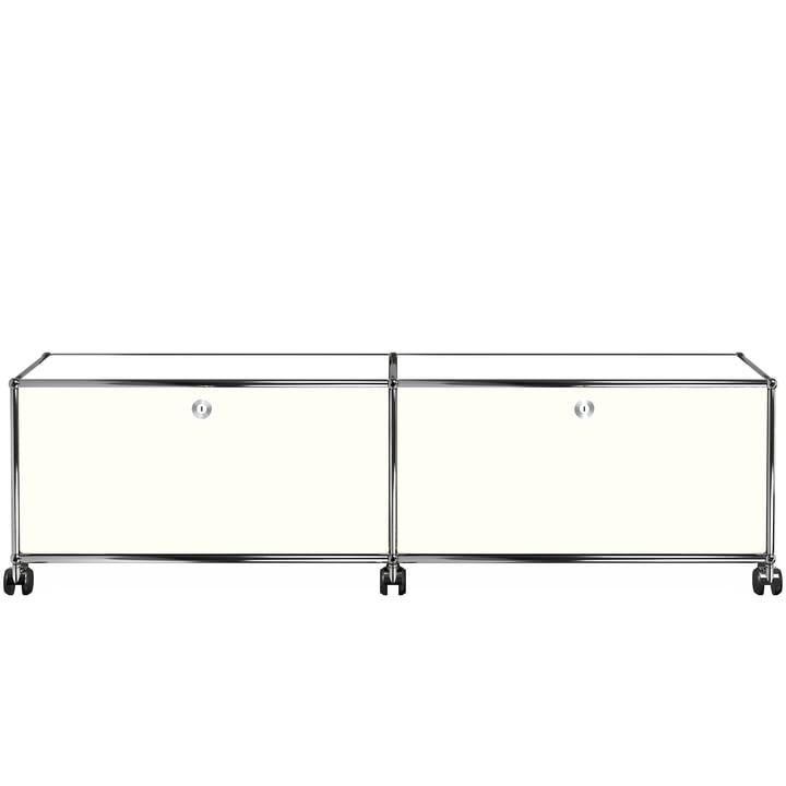 USM Haller - TV-/Hi-Fi-Möbel M zwei Klapptüren und Rollen, reinweiß (RAL 9010)