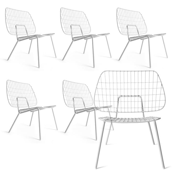 5+1 Angebots-Set: Menu - WM String Lounge Chair, weiß