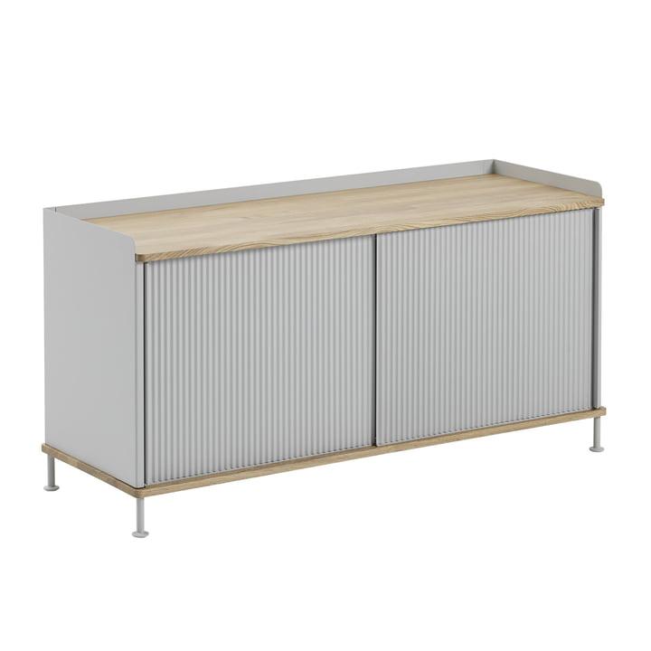 Enfold Sideboard niedrig von Muuto in Eiche / Grau