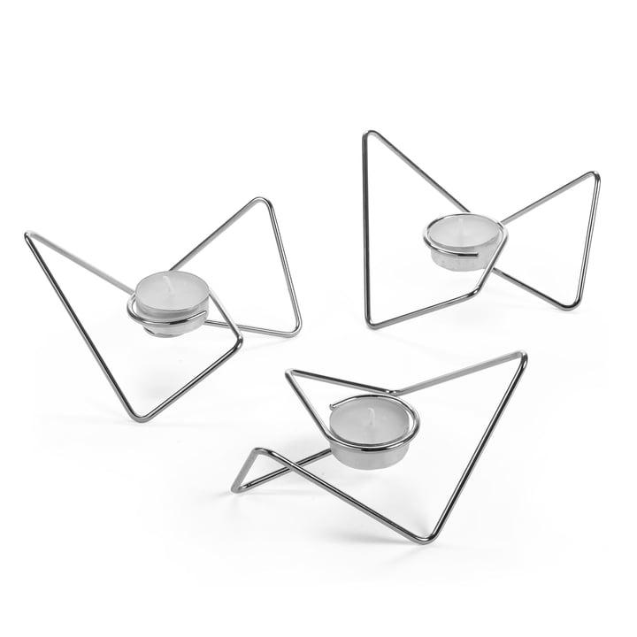 Tri-Angular Loop Teelichthalter von Black + Blum in Chrom (3-teilig)