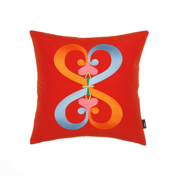 Das Vitra - Embroidered Kissen Double Heart, 40 x 40 cm in rot