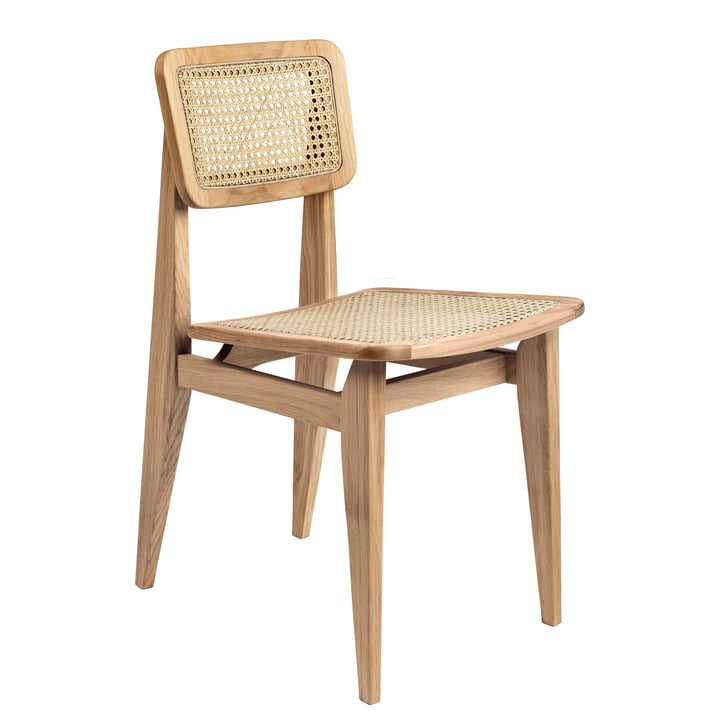 Gubi - C-Chair Dining Chair, All French Cane, Eiche geölt