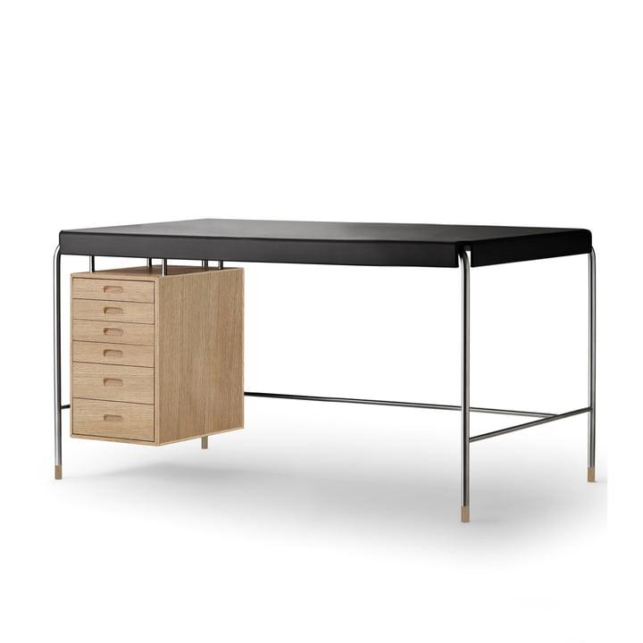 Carl Hansen - AJ52Society Tisch, 140 x 70 cm, Eiche geölt / Leder schwarz