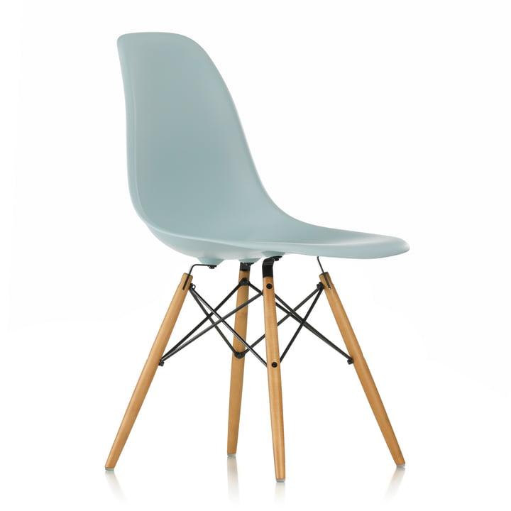 Vitra - Eames Plastic Side Chair DSW (H 43 cm), Ahorn gelblich / eisgrau, Filzgleiter weiß
