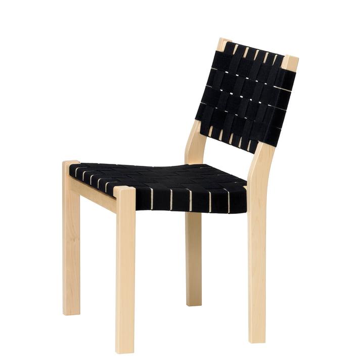 Der Artek - Stuhl 611, Birke / Leinengurt in schwarz