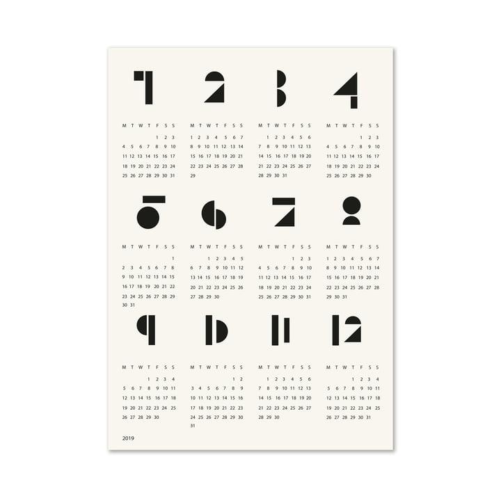 Grafischer Toyblocks Wand-Kalender in Schwarz