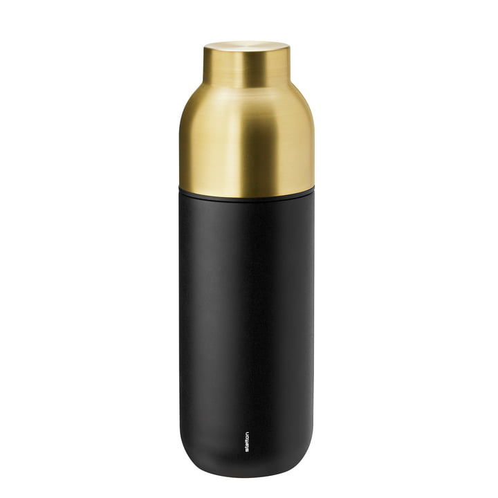 Die Stelton - Collar Thermosflasche 0.75 l in schwarz / Messing