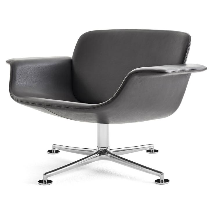Knoll - KN01 Lounge-Drehsessel, Aluminium poliert / schwarz (Leder Volo)