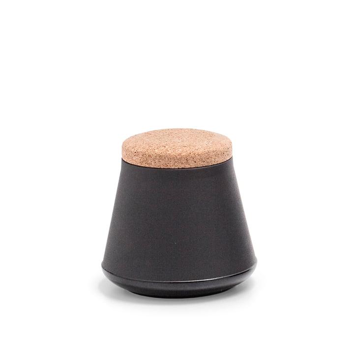 Established & Sons- Store Keramikbehälter mit Deckel H 14 cm, matt black / gloss black