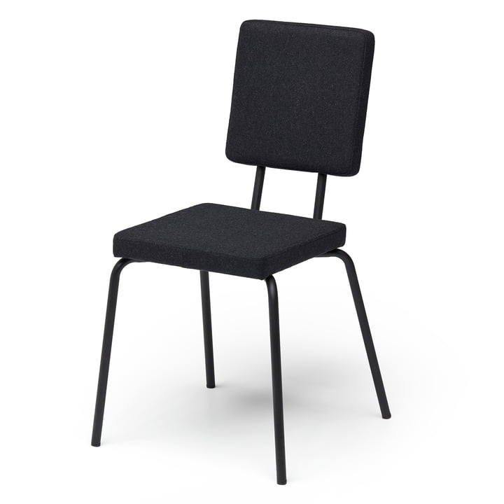 Option Stuhl, Sitzfläche und Rückenlehne quadratisch von Puik in schwarz / schwarz