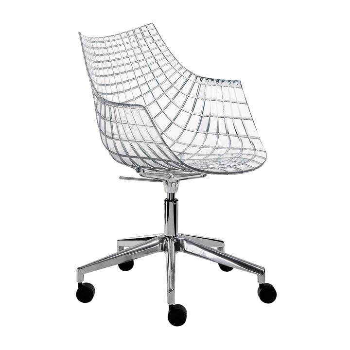 Driade - Meridiana Armlehnstuhl auf Rollen, Aluminium poliert / transparent