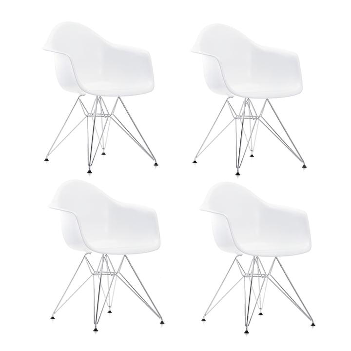 4 x Vitra - Eames Plastic Armchair DAR, verchromt / weiß, Filzgleiter schwarz (Hartboden)