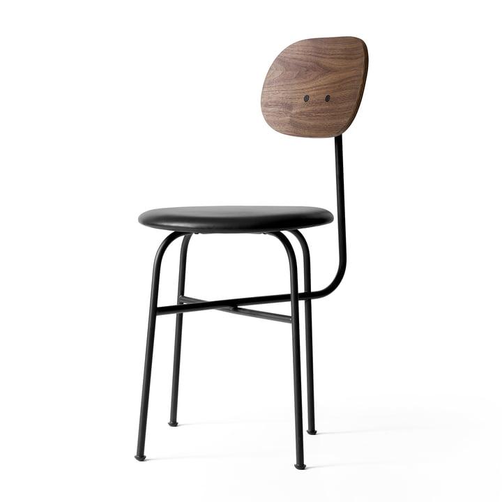 Afteroom Stuhl Plus von Menu in Walnuss / Leder schwarz / schwarz