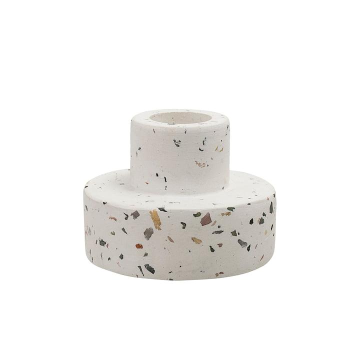Terrazzo Kerzenhalter Ø 7 x H 5 cm von Bloomingville in weiß