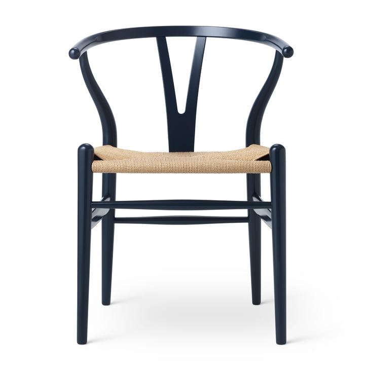 CH24 Wishbone Chair von Carl Hansen in Buche Navy Blau / Naturgeflecht (Birthday Edition)