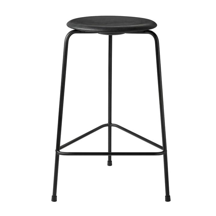 Dot Barhocker von Fritz Hansen - H 65 cm, Leder schwarz / Untergestell schwarz