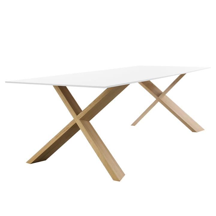 X-Man Tisch von Conmoto - 240 x 100 cm, HPL in weiß / Eiche