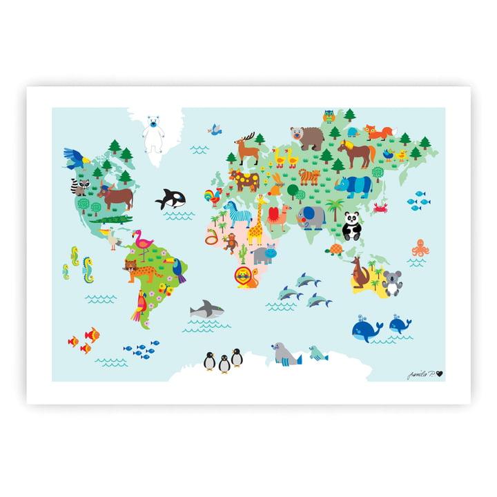 Tier-Weltkarte Poster 50 x 70 cm von byGraziela