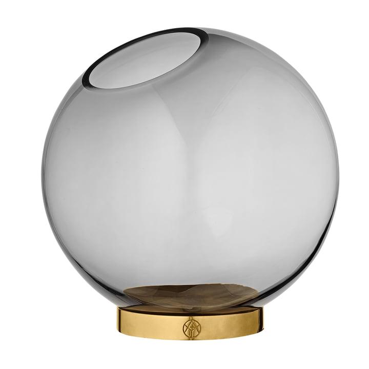 Globe Vase large, Ø 21 x H 21 cm in schwarz / gold von AYTM