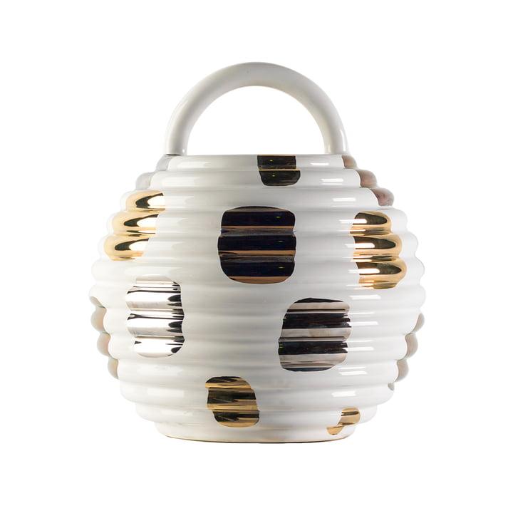 Grasso Vase einzeln von BD Barcelona in weiß mit Pünktchen