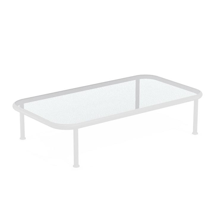 Dock Tisch rechteckig von Emu in weiß / Glas gerastert