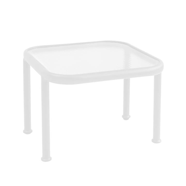 Dock Tisch quadratisch von Emu in weiß / Glas gerastert