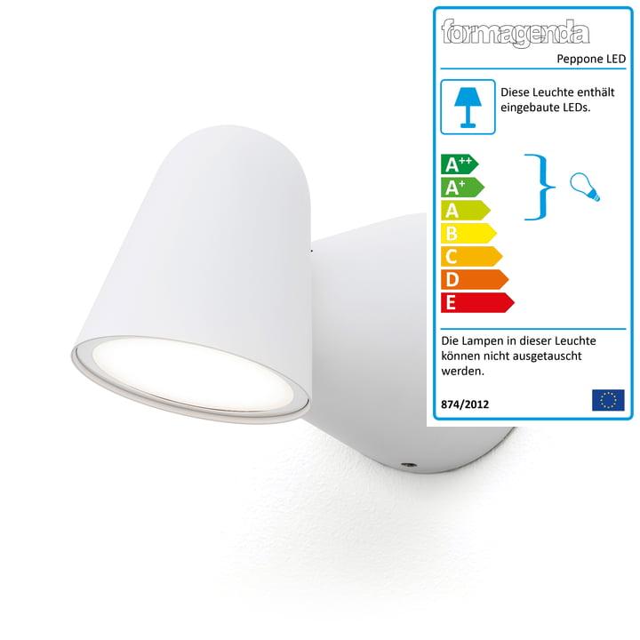 Peppone LED-Wandleuchte von Formagenda in weiß matt
