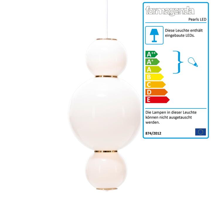 Pearls LED-Pendelleuchte Version A von Formagenda in weiß / Gold