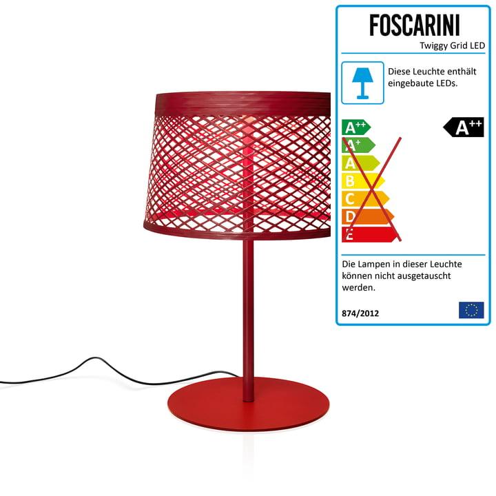 Twiggy Grid XL LED-Tischleuchte von Foscarini in carmine