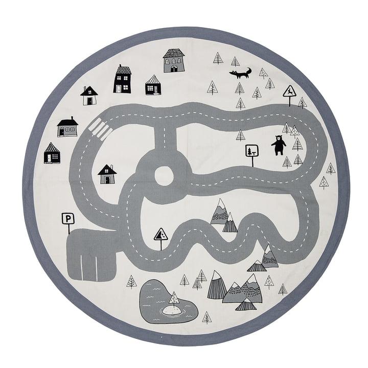Spielteppich Verkehr von Bloomingville, Ø 130 cm in beige / grau