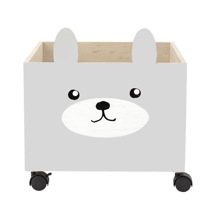 Spielzeug-Kiste mit Rollen von Bloomingville in grau / weiß
