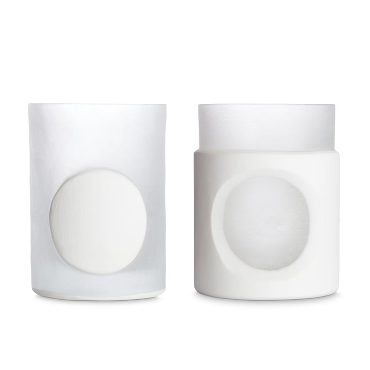 Carved Vase von Tom Dixon in weiß im 2er-Set