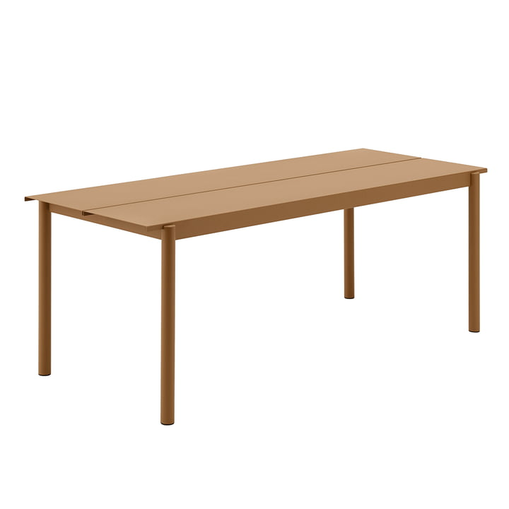 Linear Steel Tisch, 200 x 80 cm in burnt orange von Muuto