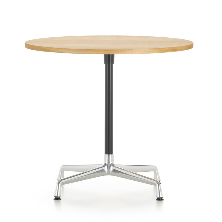 Contract Table Ø 80 cm von Vitra in Aluminium poliert / basic dark / Eiche hell