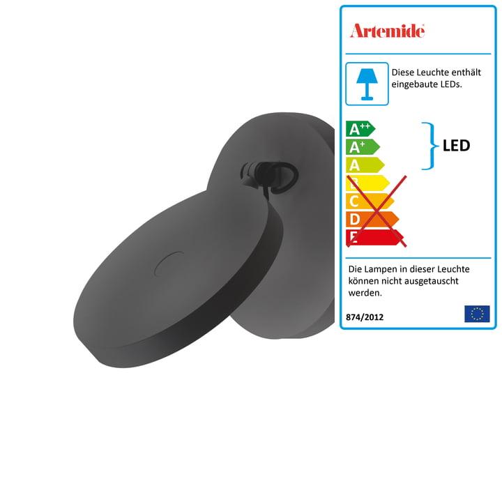 Demetra Faretto LED Wandleuchte ohne Schalter von Artemide in anthrazit