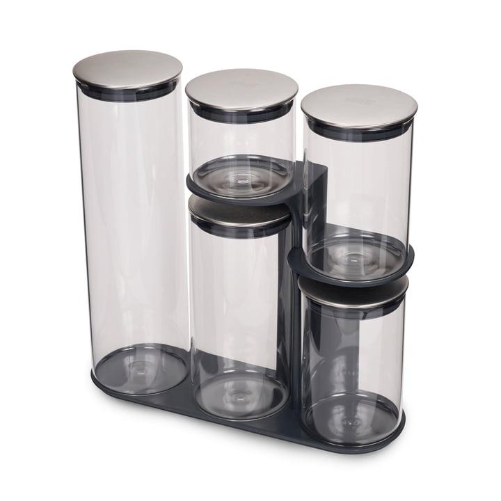 Joseph Joseph - Podium 100 Aufbewahrungsbehälter-Set mit Ständer, 5-teilig, Edelstahl