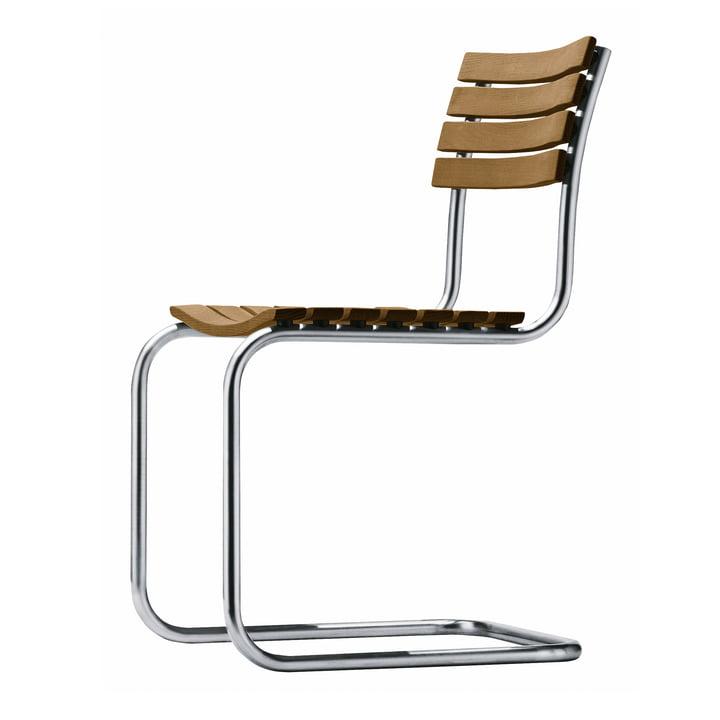 S 40Outdoor Stuhl, Gestell Edelstahlrundrohr / Sitz und Rücken Iroko geölt von Thonet