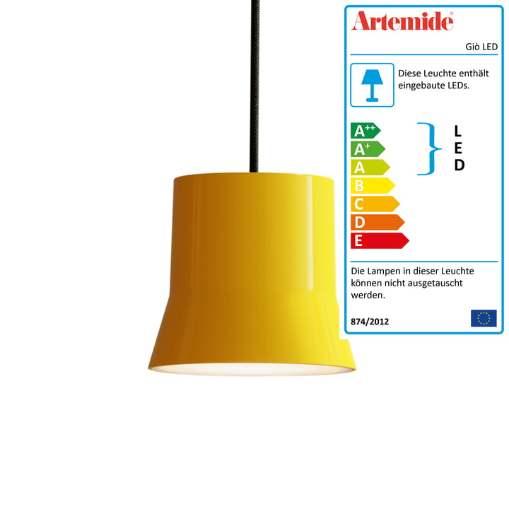 Giò LED-Pendelleuchte von Artemide in gelb