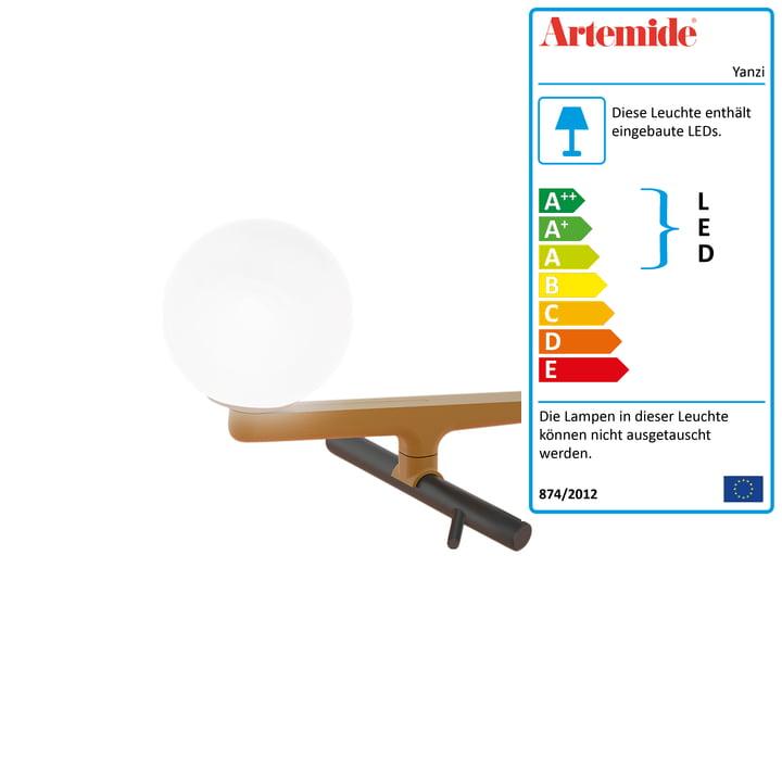 Yanzi LED-Tischleuchte von Artemide in Messing gebürstet / schwarz